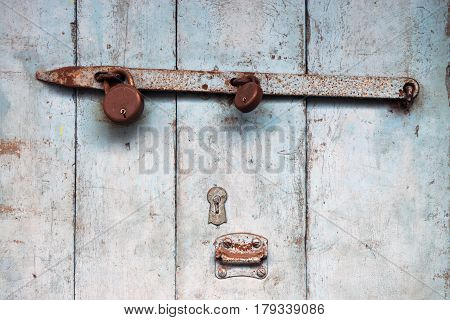White Old Wooden Door, Paint Crumble, Rusted Metal Heck, Old Castle, Vintage Background.