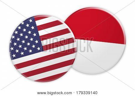 US News Concept: USA Flag Button On Monaco Flag Button 3d illustration on white background
