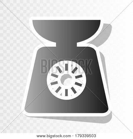 Kitchen scales sign. Vector. New year blackish icon on transparent background with transition.