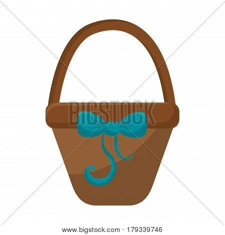 brown hamper with blue ribbon bow decoration, vector illustration