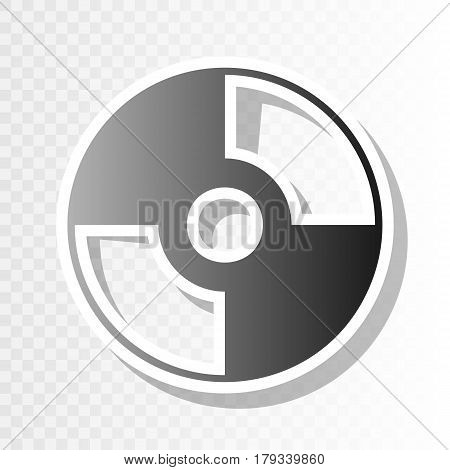 Vector CD or DVD sign. Vector. New year blackish icon on transparent background with transition.
