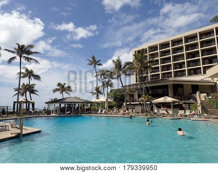 NORTH SHORE HAWAII - FEBRUARY 23: Pool at the famous Turtle Bay Hotel on the ocean on the North Shore Hawaii on February 23 2017.