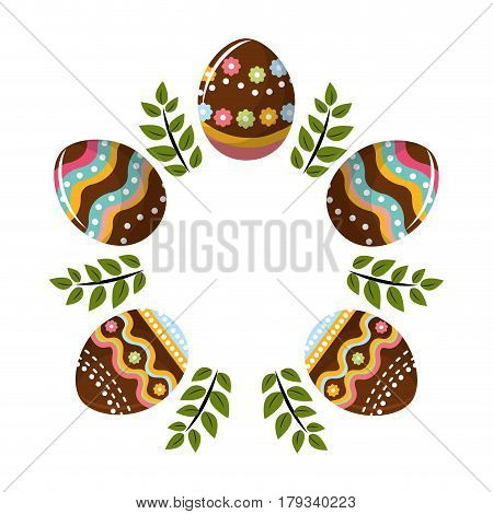 eggs easter with branches plant decorative, vector illustration