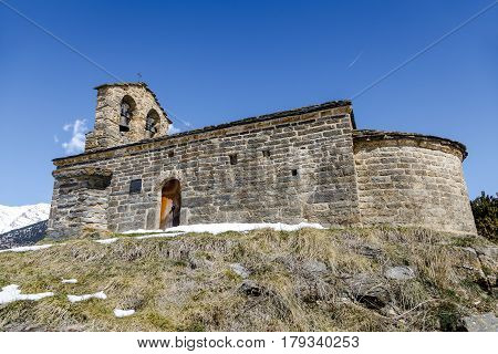 Roman Church of Hermitage of San Quirce de Durro (Catalonia - Spain). This is one of the nine churches which belongs to the UNESCO World Heritage Site