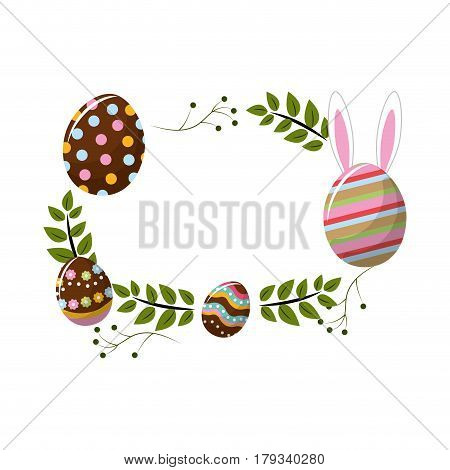 eggs easter with branches plant with rabbit inside of egg, vector illustration