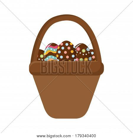 brown hamper with eggs easter inside, vector illustration