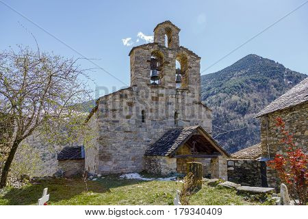 Roman Church of Santa Maria de Cardet (Catalonia - Spain). This is one of the nine churches which belongs to the UNESCO World Heritage Site.