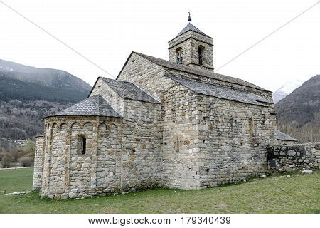 Roman Church of Sant Feliu in Barruera (Catalonia - Spain). This is one of the nine churches which belongs to the UNESCO World Heritage Site.