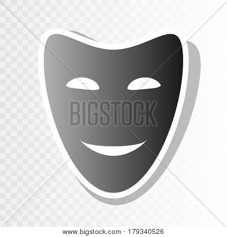 Comedy theatrical masks. Vector. New year blackish icon on transparent background with transition.