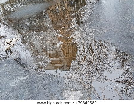 Reflection Of Multi-storey Building In A Puddle On The Pavement, Bare Branches Of A Tree, The Snow M