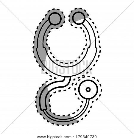 silhouette stethoscope medical tool revision, vector illustration