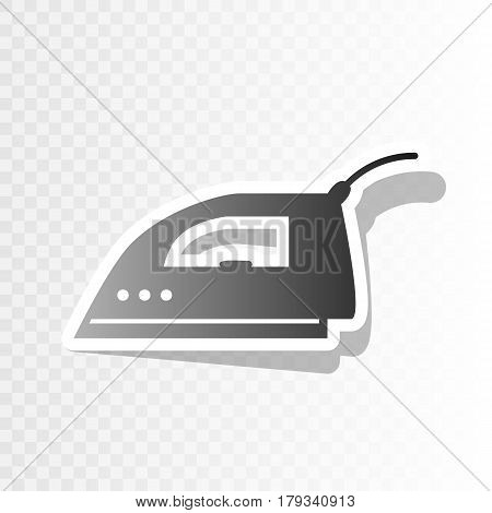 Smoothing Iron sign. Vector. New year blackish icon on transparent background with transition.