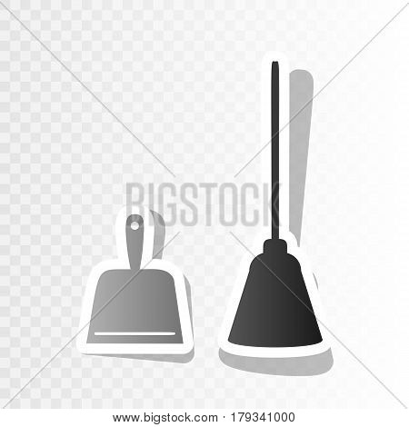 Dustpan vector sign. Scoop for cleaning garbage housework dustpan equipment. Vector. New year blackish icon on transparent background with transition.
