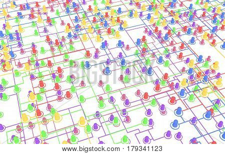 Crowd of small symbolic 3d figures linked by lines systems many colors isolated