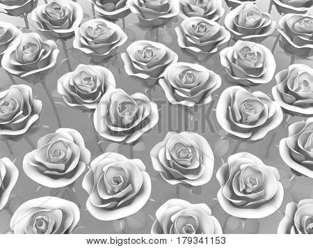 White rose many objects 3d illustration horizontal