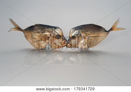 Kiss, Photo Joke: Two Smoked Fish Kissing In The Mouth On A White Background.