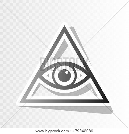 All seeing eye pyramid symbol. Freemason and spiritual. Vector. New year blackish icon on transparent background with transition.