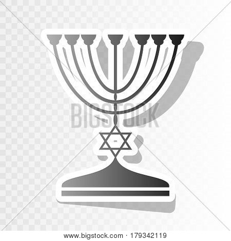 Jewish Menorah candlestick in black silhouette. Vector. New year blackish icon on transparent background with transition.