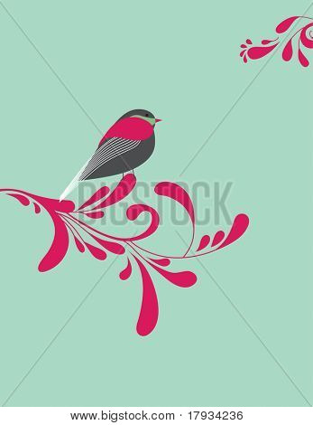 Vector Retro Bird and Scroll