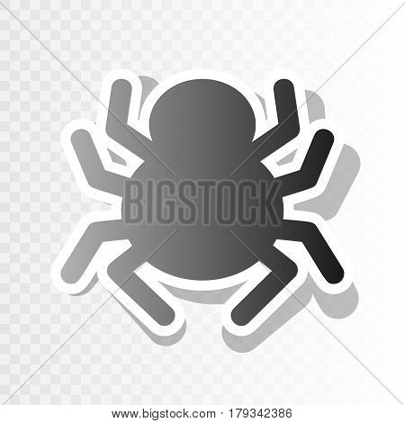 Spider sign illustration. Vector. New year blackish icon on transparent background with transition.