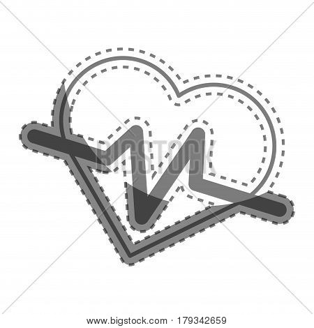 silhouette heartbeat cardio vital sign, vector illustration