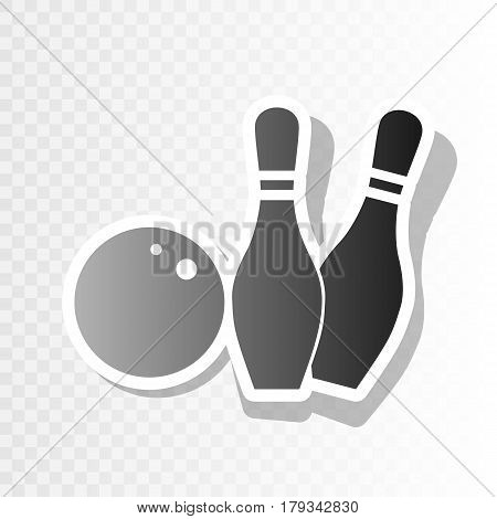 Bowling sign illustration. Vector. New year blackish icon on transparent background with transition.