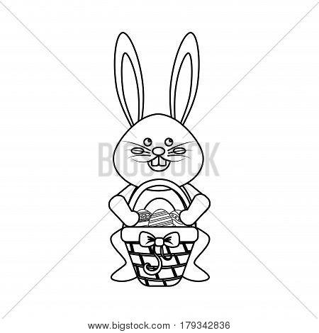 figure rabbit easter with eggs inside of hamper, vector illustration