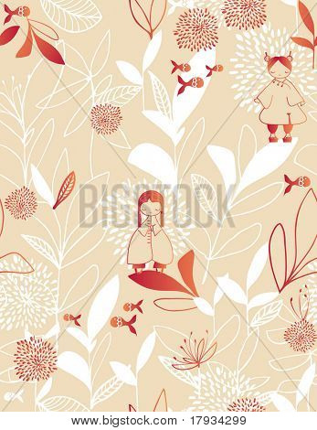 Vector retro floral seamless pattern and children's graphics