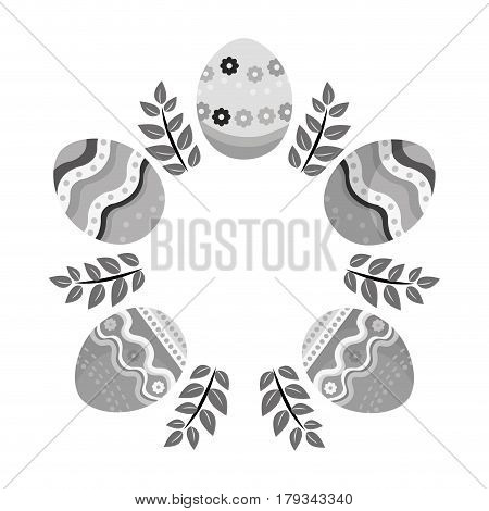 grayscale eggs easter with branches plant decorative, vector illustration