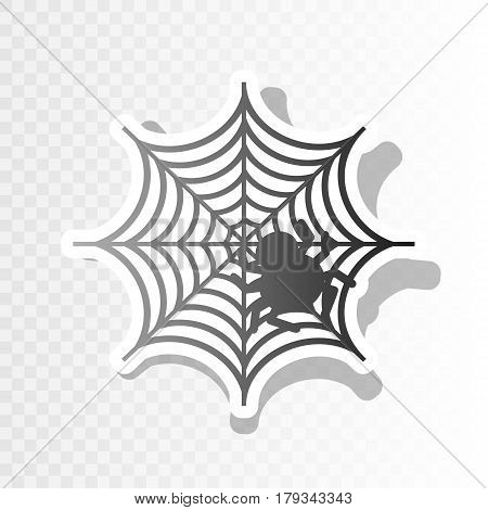 Spider on web illustration Vector. New year blackish icon on transparent background with transition.