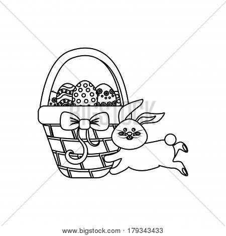 figure eggs easter inside the hamper and rabbit running, vector illustration