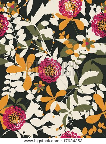 Vector retro floral seamless pattern