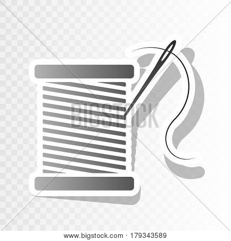 Thread with needle sign illustration. Vector. New year blackish icon on transparent background with transition.