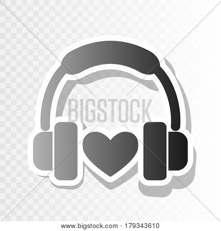 Headphones with heart. Vector. New year blackish icon on transparent background with transition.