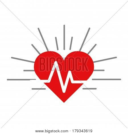 red heartbeat cardio vital sign, vector illustration