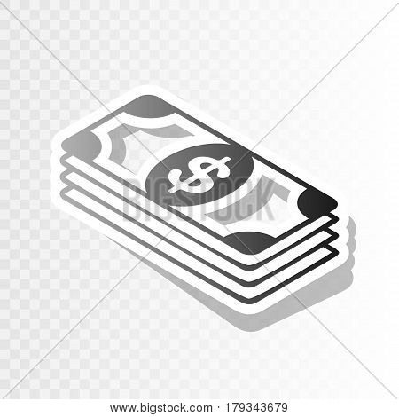 Bank Note dollar sign. Vector. New year blackish icon on transparent background with transition.