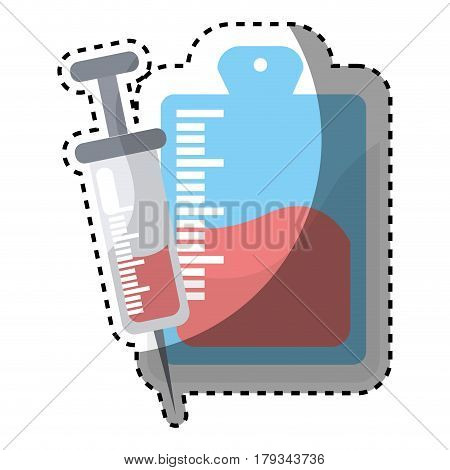 red blood donation bag with syringe transfusion, vector illustration design