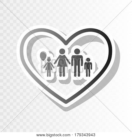 Family sign illustration in heart shape. Vector. New year blackish icon on transparent background with transition.