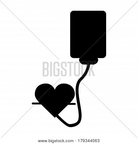 black contour blood donation medical transfusion, vector illustration design