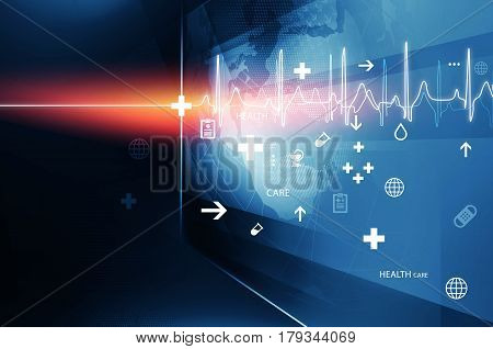 Big Flat Screen With Health Symbols and Heartbeat Diagram Suitable for Health care and Medical News Topic. 3d Illustration