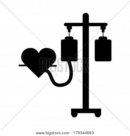 black contour donation transfusion tools with heartbeat symbol, vector illustration