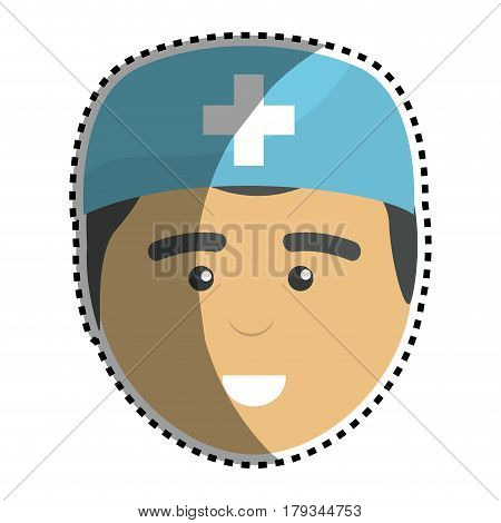 medical man doctor with surgical cap, vector illustration design