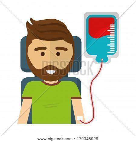 man donating blood with beard, vector illustration design