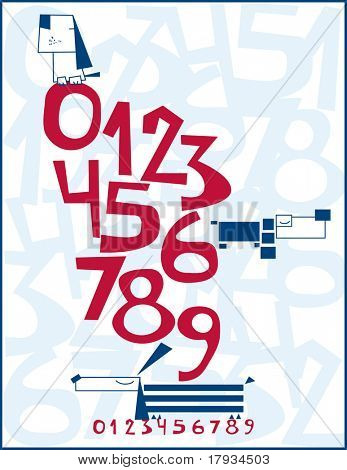Vector Baby Nursery Numbers Poster with dogs