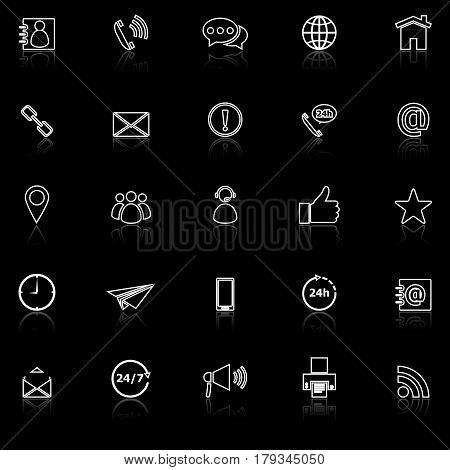 Contact us line icons with reflect on black background, stock vector