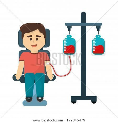 man donating blood to transfusion icon, vector illustration design
