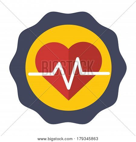 sticker heartbeat cardio vital sign, vector illustration