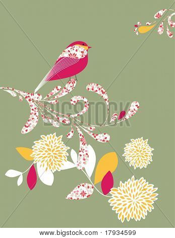 Vector Bird Silhouette Ornament