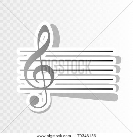 Music violin clef sign. G-clef. Vector. New year blackish icon on transparent background with transition.