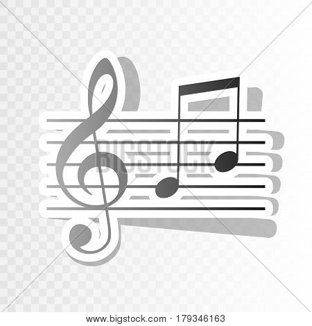 Music violin clef sign. G-clef and notes G, H. Vector. New year blackish icon on transparent background with transition.